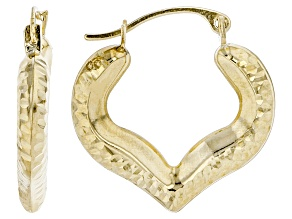 10k Yellow Gold Diamond-Cut Heart Hoop Earrings