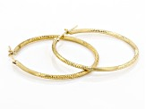 10k Yellow Gold Satin And Diamond-Cut 30mm Round Tube Hoop Earrings