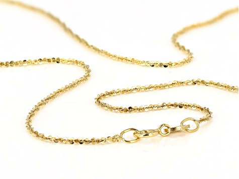 10KT Yellow Gold Criss Cross Chain Necklace 18