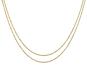 10KT Yellow Gold Criss-Cross Necklace Set of Two 18