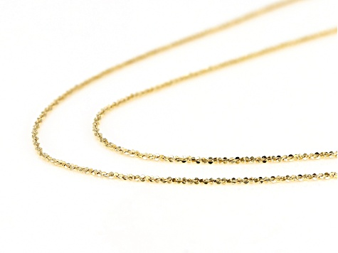 "10KT Yellow Gold Criss-Cross Necklace Set of Two 18""+20"" Necklaces"