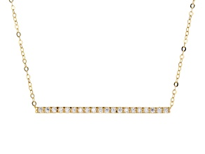 10k Yellow Gold White Cubic Zirconia Bar 18