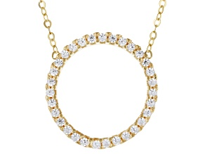 "10k Yellow Gold Cubic Zirconia Circle 18"" Necklace"