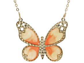 10K Yellow Gold Butterfly With Enamel 16 Inches With 2 Inch Extension Necklace