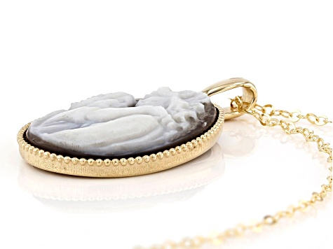 10K Yellow Gold Cameo Mother and Child Pendant with Cable Chain 18 plus 2 Inches Necklace