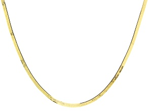 10K Yellow Gold Herringbone Chain Necklace 20