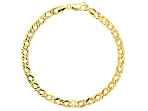 10K Yellow Gold 4.5MM Double Curb Chain Bracelet