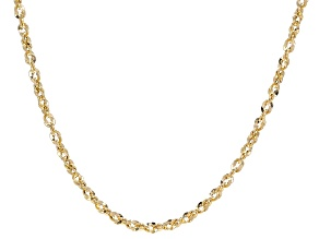 10K Yellow Gold Diamond Cut 2.40MM Rope Chain 20 Inch Necklace