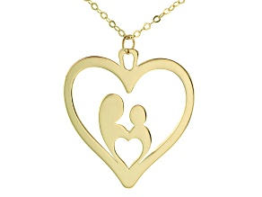 10k Yellow Gold Mother and Child Necklace 18 Inches