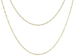 10k Yellow Gold Criss Cross Chain Necklaces- Set of 2