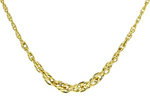 10K Yellow Gold 6.35MM Graduated Rope Chain 18 Inch Necklace