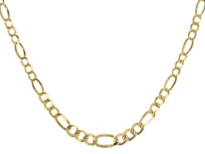 10K Yellow Gold Figaro Chain Necklace 18""