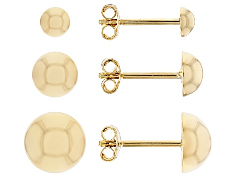 10K Yellow Gold Polished 3-Star Earrings