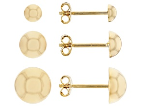 10K Yellow Gold High Polished Set of 3 Half-Stud Earrings