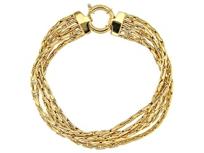 10K Yellow Gold 12.70MM 5 Multi-Row Chain 8 Inch Bracelet