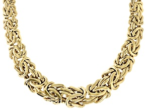 10K Yellow Gold 16.30MM Graduated Bold Byzantine 18 Inch Necklace