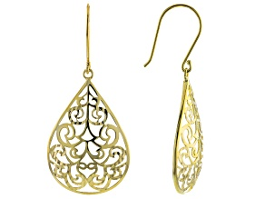 10K Yellow Gold Scroll Design Diamond Cut 1.80 Inch Pear Shape Earrings