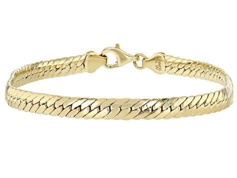 10K Yellow Gold 4.43MM High Polished Herringbone Link 8 Inch Bracelet
