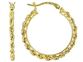 10k Yellow Gold Polished Rope Hoop Earrings