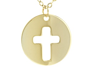 "10K Yellow Gold 18"" Cross Necklace"