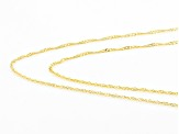 14K Yellow Gold 1mm Set of 2 18 Inch And 20 Inch Singapore Necklaces