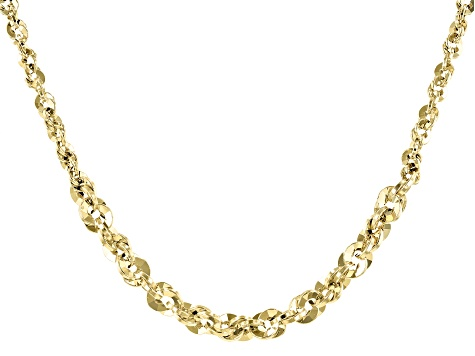 10K Yellow Gold Graduated Rope Chain 18 Inch Necklace