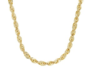 10K Yellow Gold 3.30MM Graduated Rope Chain 18 Inch Necklace