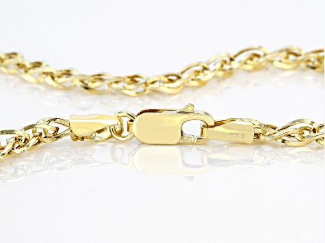 10K Yellow Gold 3.35MM Diamond-Cut Spiga 24 Inch Necklace
