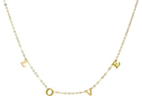 "10K Yellow Gold ""Love"" Cable Chain 18 Inch Necklace"