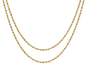 10K Yellow Gold Set of Two 1MM Rope Chain 18 and 20 Inch Necklaces