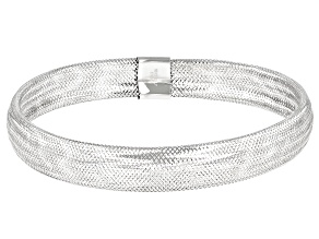 Rhodium Over 10K Gold 8MM Domed Stretch Mesh Bangle Bracelet