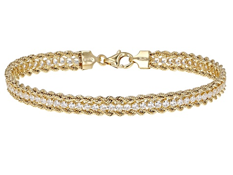 Cubic Zirconia 14K Yellow Gold Three-Strand 7.5