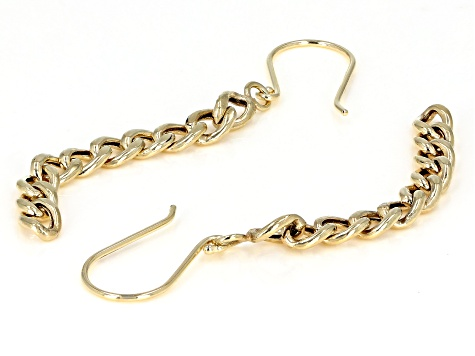10K Yellow Gold High Polished Curb Drop Earrings
