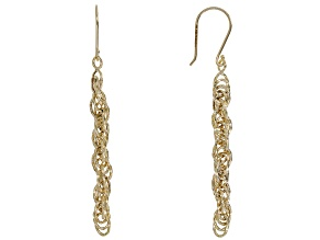 10K Yellow Gold Twist Rope Drop Earrings