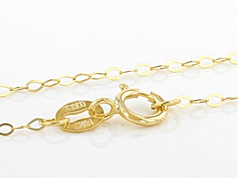 "14K Yellow Gold 1.30MM Faceted Square Rolo Chain 18"" Necklace"