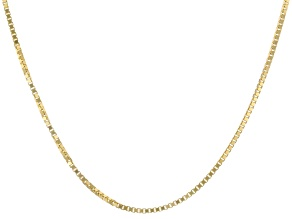 "14K Yellow Gold 0.77MM Diamond Cut 18"" Box Chain Necklace"