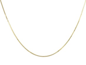 "14K Yellow Gold 0.77MM Diamond Cut 20"" Box Chain Necklace"