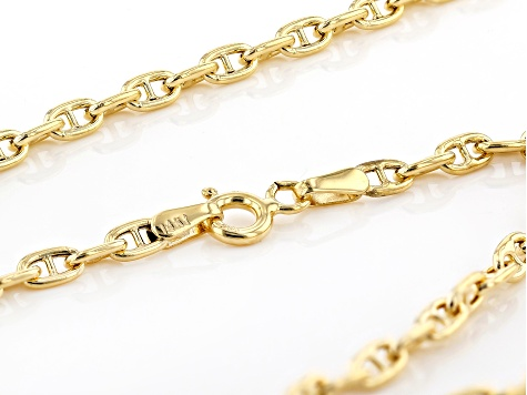 14k Yellow Gold 2.85mm 18 inch Mariner Link Necklace