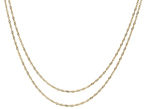 10K Yellow Gold Set of 2 Singapore 18 Inch And 20 Inch Necklaces