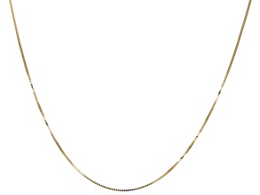 14K Yellow Gold Diamond Cut 18 Inch Box Chain Necklace