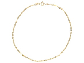 14K Yellow Gold Polished Diamond Cut 2.25MM Oval Mirrored Link 10