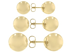14K Yellow Gold 6-8-10MM Ball Earrings Set of 3