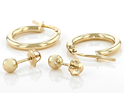14K Yellow Gold 14MM Hoop and 4MM Ball Earrings Set of 2