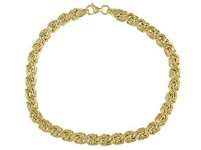 10K Yellow Gold Domed Rosetta 7.25 Inch Bracelet