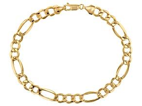 """10K Yellow Gold Polished 7.55MM Figaro 8.5"""" Bracelet"""