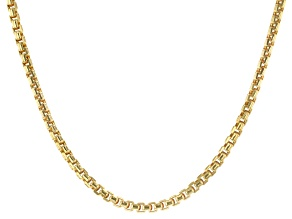 10K Yellow Gold Polished and Diamond Cut 2.4MM Semi-Solid 20 Inch Box Chain Necklace