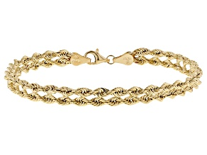 "10K Yellow Gold 5.50MM Polished Rope 7.25"" Bracelet"