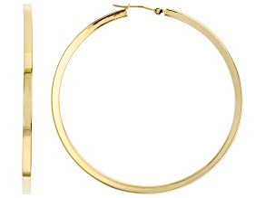 10K Yellow Gold Polished 53MM Square Tube Hoop Earrings
