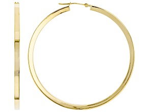 10K Yellow Gold Polished 50MM Square Tube Hoop Earrings
