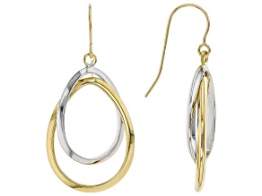10K Yellow and White Gold Polished Double Oval Tube Drop Earrings
